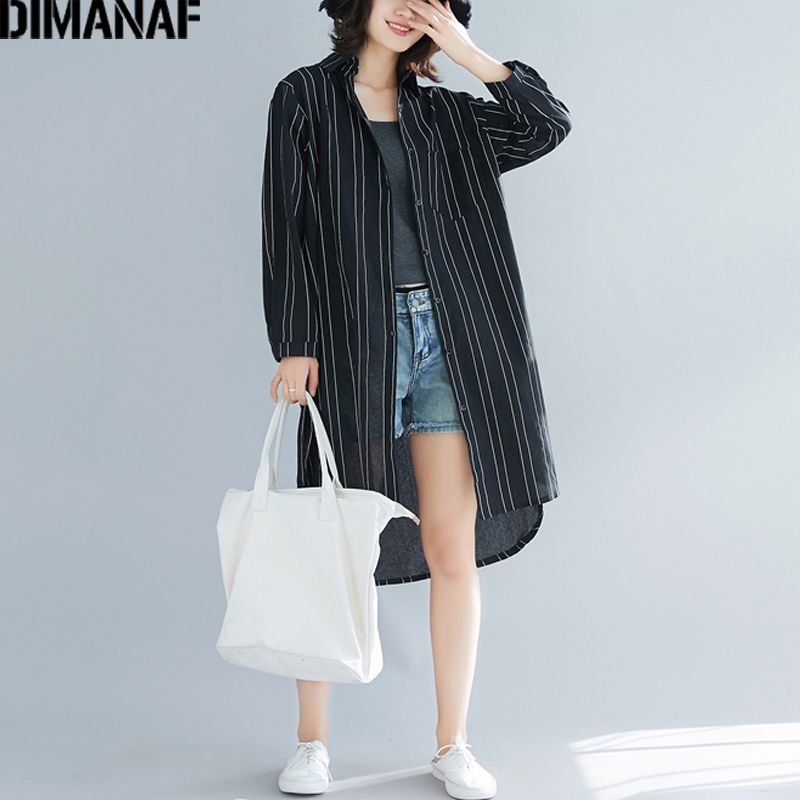 DIMANAF Plus Size Women   Blouse     Shirts   Long Sleeve Summer Cotton Linen Lady Tops Female Clothing Loose Casual Striped Cardigan