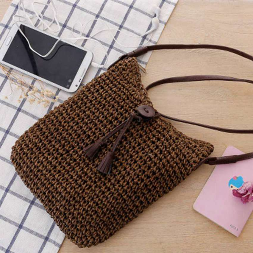 Generous Thai Version Of Handmade Crochet Messenger Bag Straw