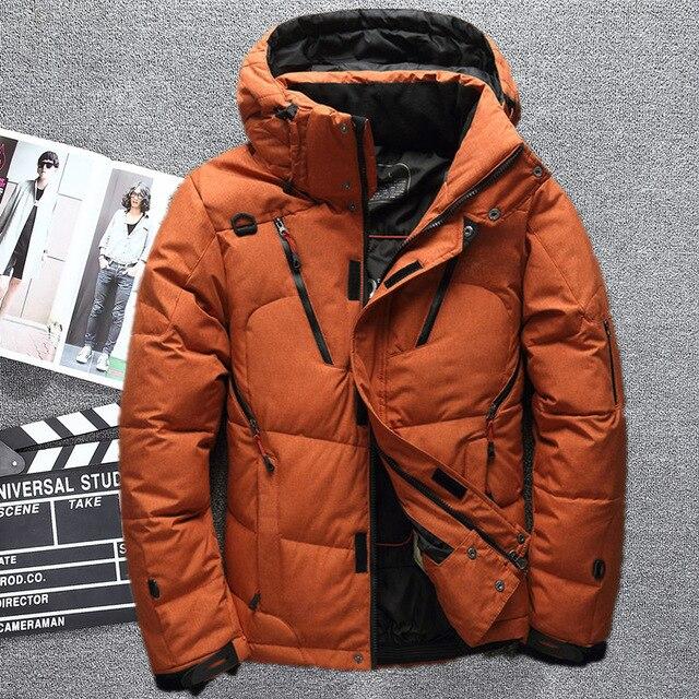 2018 Мужские высокое качество белая утка с капюшоном пуховик Повседневное сплошной цвет теплая дутая куртка пальто мужской тонкий большой размер верхняя одежда на молнии