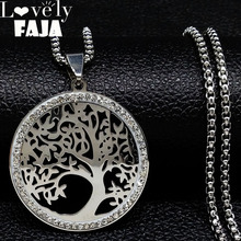 ФОТО 2018 stainless steel crystal chain necklace for women big tree of life silver color necklaces jewellery bisuteria mujer n18147