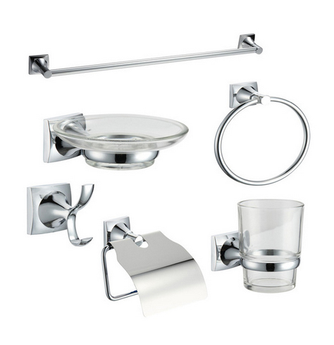 ФОТО Stainless Steel and Zinc Alloy 6 Pieces Bathroom Accessories Sets with Chrome Towel bar Paper Holder Towel Ring Robe Hook Dishes