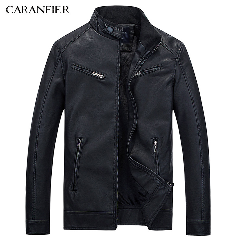 CARANFIER Motorcycle Mens Faux Leather Jacket