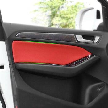 4PCS ภายในรถหนังไมโครไฟเบอร์ประตู Trim สำหรับ Audi Q5 2010 2011 2012 2013 2014 2015 2016 2017 2018