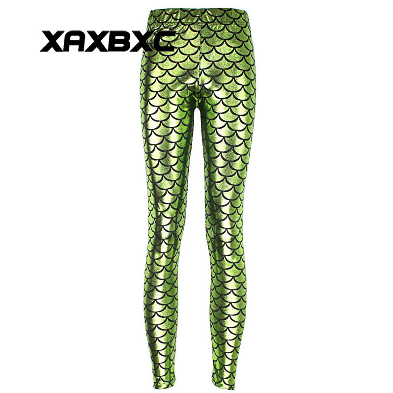 3d20e4b248c7f New 3001 Sexy Girl Slim Ninth Pants Apple green Mermaid Scale Dragon  Printed Stretch Fitness Women