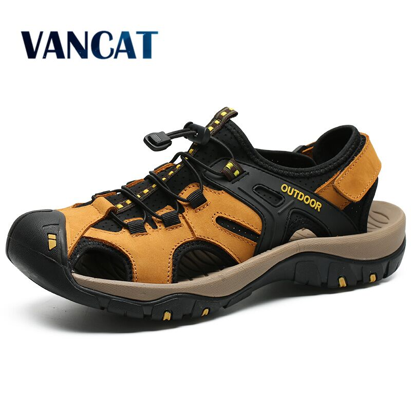 2019 New Men Summer Sandals Genuine Leather Casual Shoes Man Roman Style Beach Sandals Brand Men Summer Sneakers Size 38-48