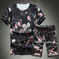 Chinese style exquisite flower pattern retro t shirt and shirts suit Summer 2018 quality soft comfortable mens short sets M 5XL