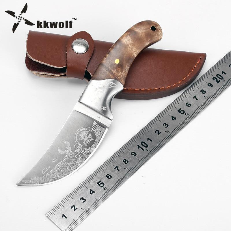 KKWOLF Šiaurės Amerikos medžioklinis peilis, fiksuotas ašmenimis, raganosis lauke, kempingo peilis 440C taktiniai išgyvenimo peiliai EDC įrankiai geriausia dovana