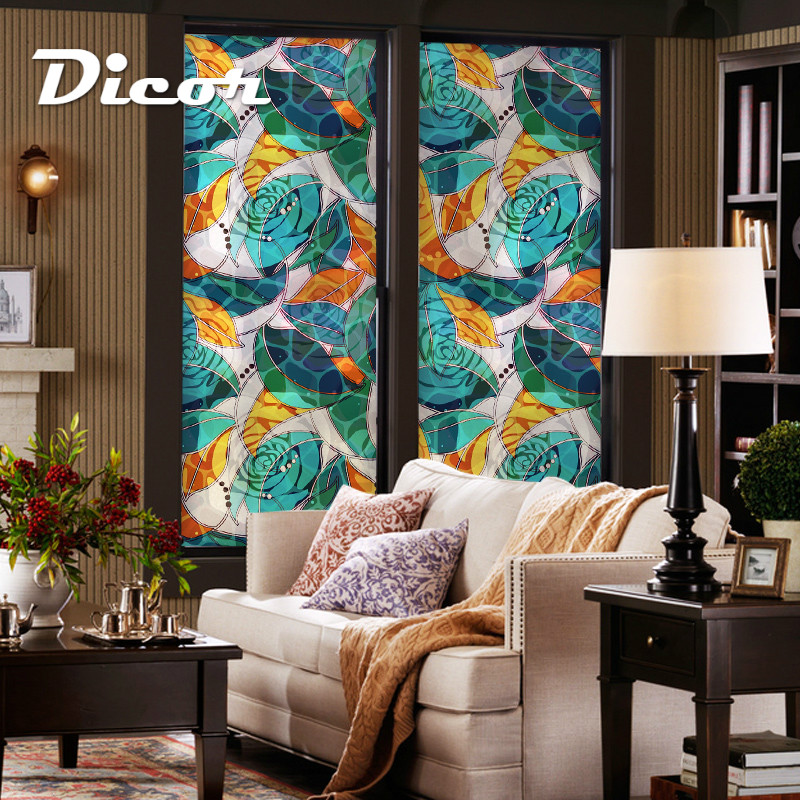 2019 New Abstract Rose Glass Stickers Flowers No Glue Removable Window Decorative Film For Glass Door Livingroom Bathroom Opaque in Decorative Films from Home Garden
