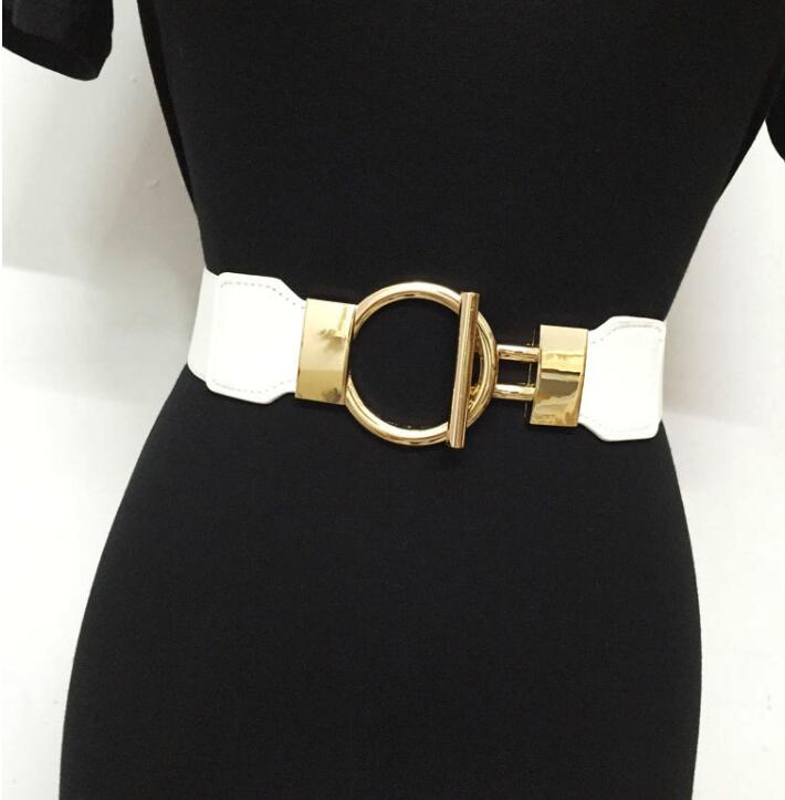Women's Runway Fashion Gold Buckle Elastic Cummerbunds Female Dress Corsets Waistband Belts Decoration Wide Belt R1527