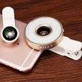 6in1 LED Linterna Lentes de Ojo de Pez Gran Angular Macro Lente de La Cámara Del Teléfono para sony xperia z1 z3 compact m5 xa lg g2 g3 g4c g5