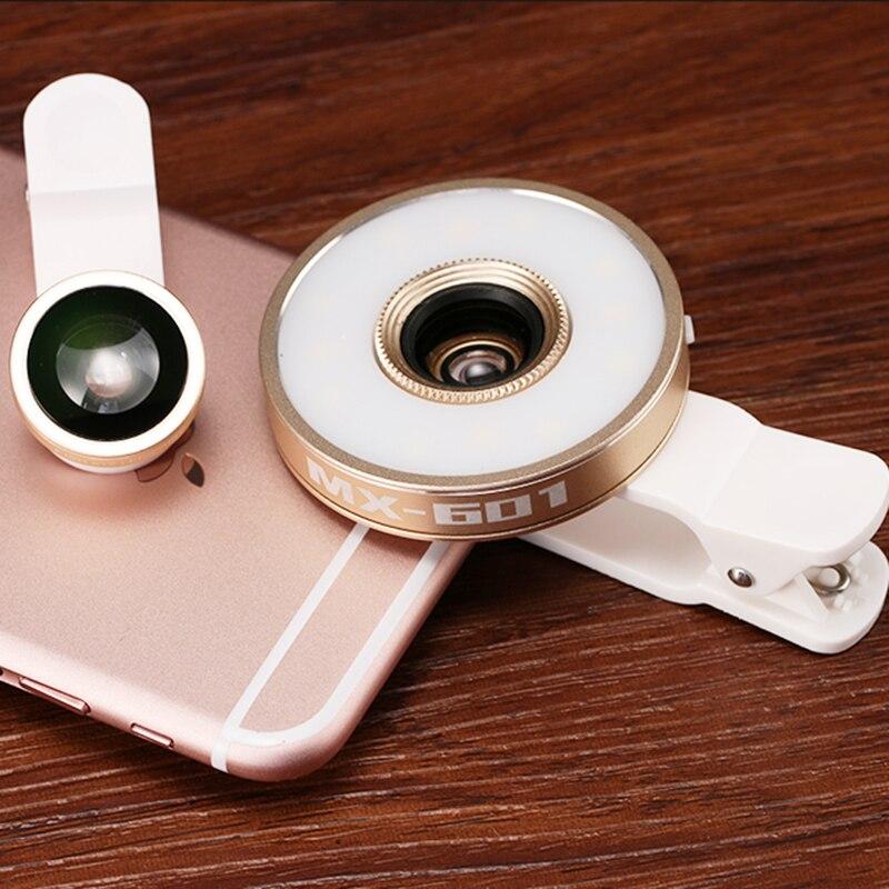 6in1 LED Senter Lensa Fish Eye Wide Angle Makro Lensa Kamera Telepon untuk  Sony xperia z3 compact z1 m5 xa LG g2 g3 g4C g5 9b4fd3deb9