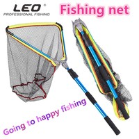 2M Fishing Landing Net Triangle Aluminum Alloy Cast Frame cage Fly tool with Handle Portable Foldable Telescopic Nylon fish Trap