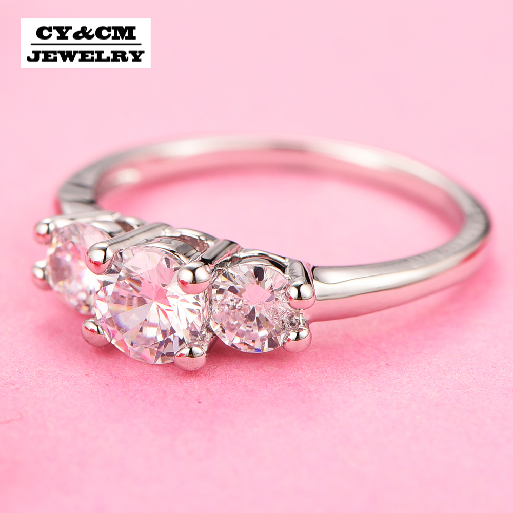 CY&CM AAA Crystal Cubic Zirconia Elegant CZ Ring Simply Design ...