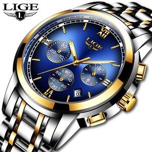 Image 1 - Montre Homme zegarek mężczyźni luksusowa marka LIGE Chronograph mężczyźni Sport zegarek wodoodporny pełna stal kwarcowy mężczyźni zegarki Relogio Masculino