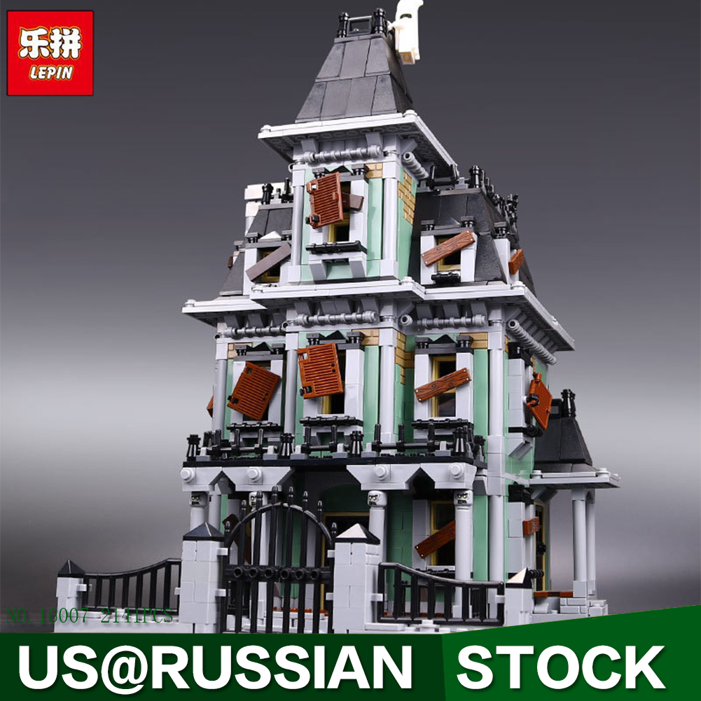 New LEPIN 16007 2141Pcs Monster fighter The haunted house Model set Building Kits Model Compatible With 10228 Gifts hf movie figures 2141pcs monster fighter haunted house model building kits blocks bricks toys for children compatible with 10228