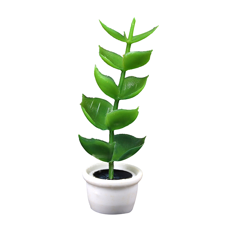 Green Miniature Accessories Mini Plastic Tree Potted Simulation Potted Plants Model Toys For 1:12 Doll House Decoration