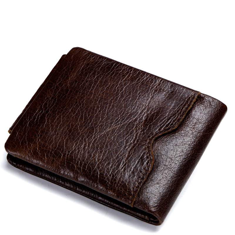 Retro Crazy Horse Leather Tri-Fold Men's Wallet Genuine Leather Cross Short Wallet Card Holder Coin Purses Small Male Wallets