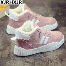 650a199e9f31c4 XJRHXJR Femmes Casual Chaussures Hiver Femmes Sneakers Mode Troupeau  Dentelle-Up Chaud En Peluche Respirant Appartements Plate-F..