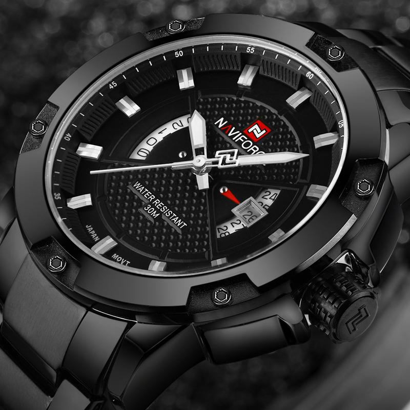 Prix pour NAVIFORCE Hommes Montres Top Marque De Luxe Sport Quartz Montre 3ATM Imperméable Hommes en acier inoxydable de montre-Bracelet Relogio Masculino