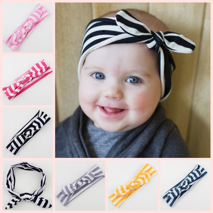 Yundfly Fashion Striped Knot Baby Girls Hair Wrap Bands Bunny Rabbit Ears Turban Headbands Turbante Headwraps Accessories