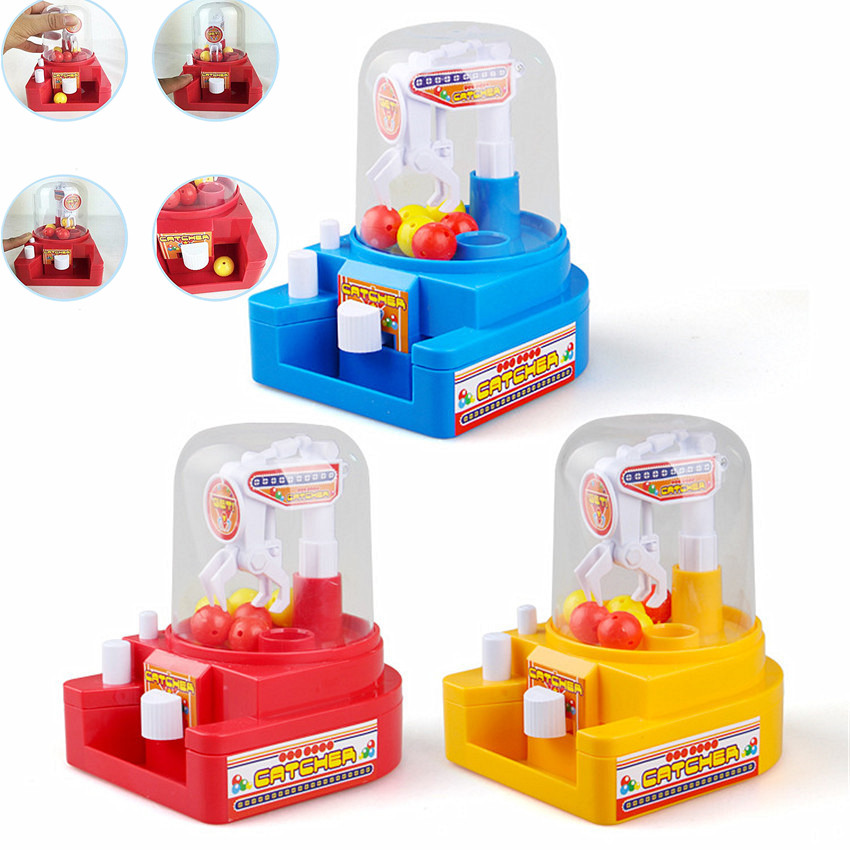 1PC Mini Doll Machine Gag Toy Kids Gift For Kids Children Party Fun Toys Grab Ball Coin Candy Catcher Alarm Clock Random Color