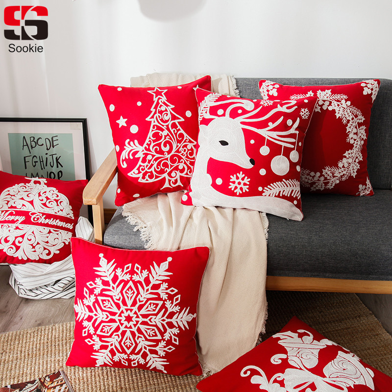 Cushion Cover Practical Sookie Cotton Christmas Cushion Cover 45*45cm Embroidery Tree Elk Bell Pillowcase Pillow Cover Fashion Home Decoration Bed Sofa Orders Are Welcome. Home Textile