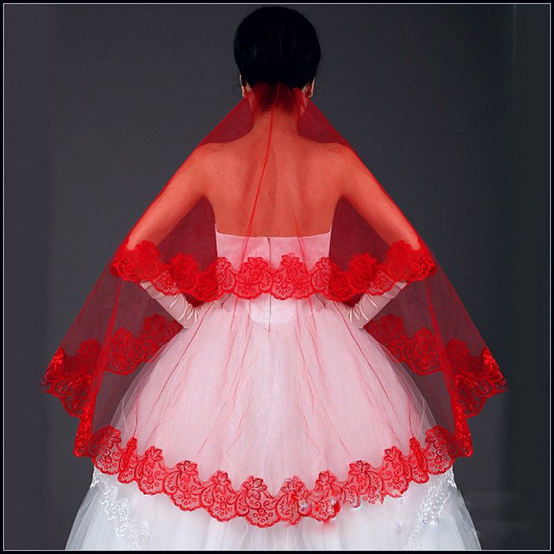 Free Shipping  Red One Layer 1.5M Wedding Dress Veil Bridal Veil Accessories Cathedral