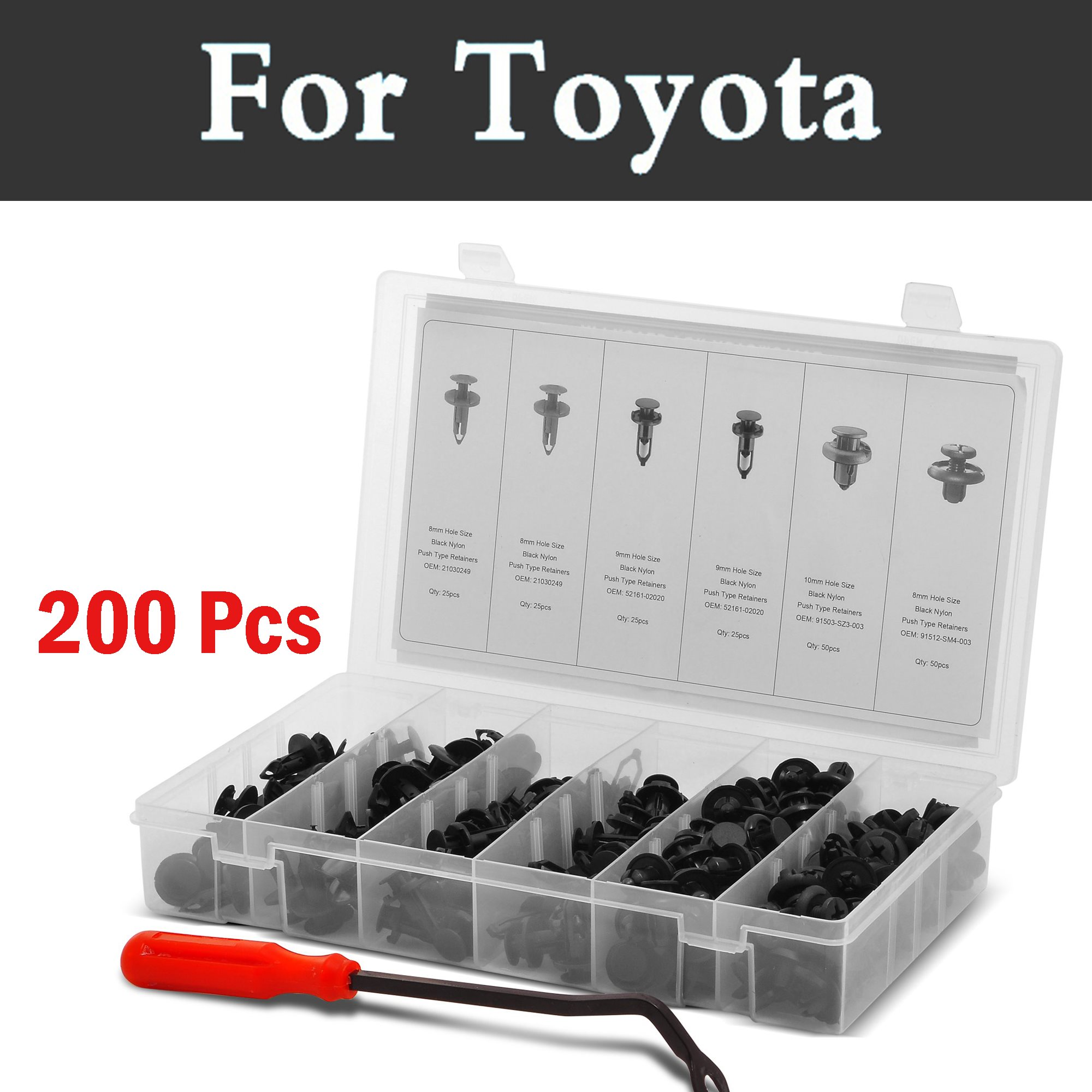 200pcs Car Push Pin Rivet Trim Clip Panel Body Interior Assortment Set For Toyota Hilux Surf Iq Ist Kluger Land Cruiser Prado
