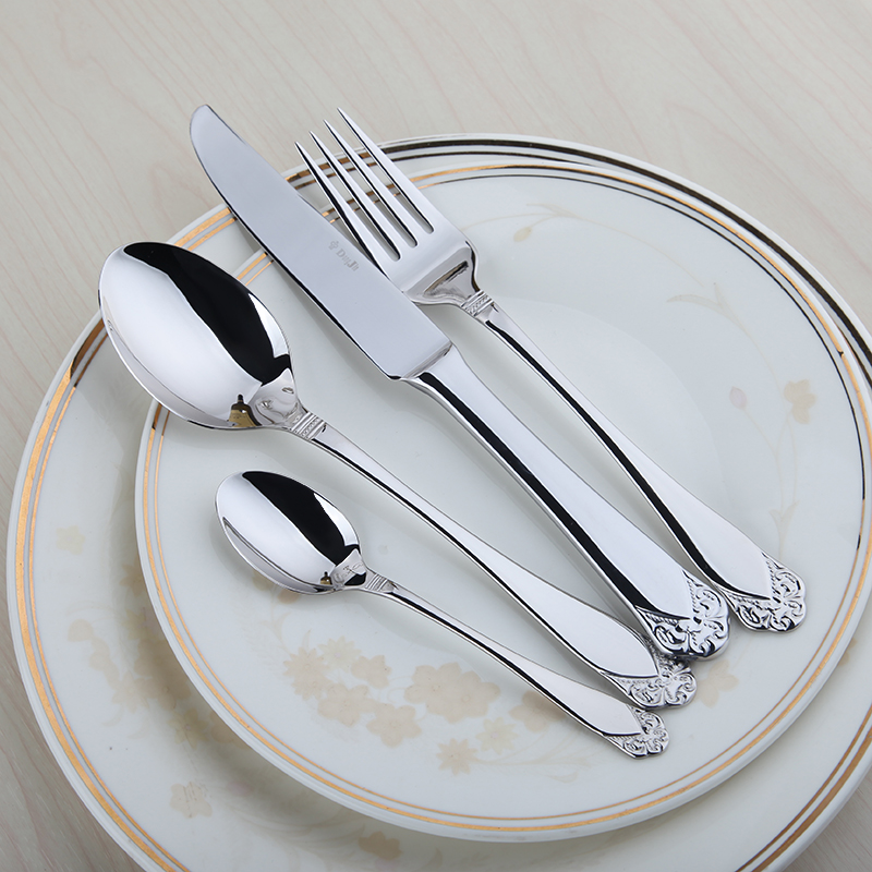Stainless Cutlery Flatware Sets 24 Restaurant Metal Kitchen Wedding Dinner Beautiful Dinnerware