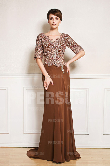 2017 New Half Sleeve V Neck Brown Wedding Guest Dress With Lace Bodice Sweep Train