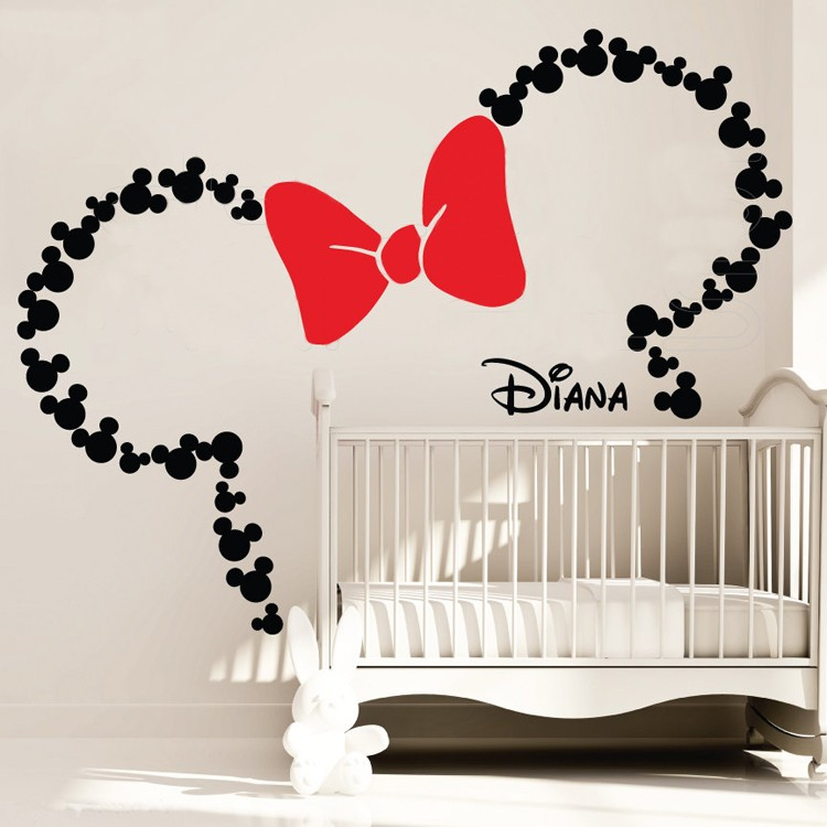 Oreilles inspirées de la souris avec arc et nom de bébé personnalisé Minnie Mouse stickers muraux inspirés pépinière décoration de chambre d'enfants