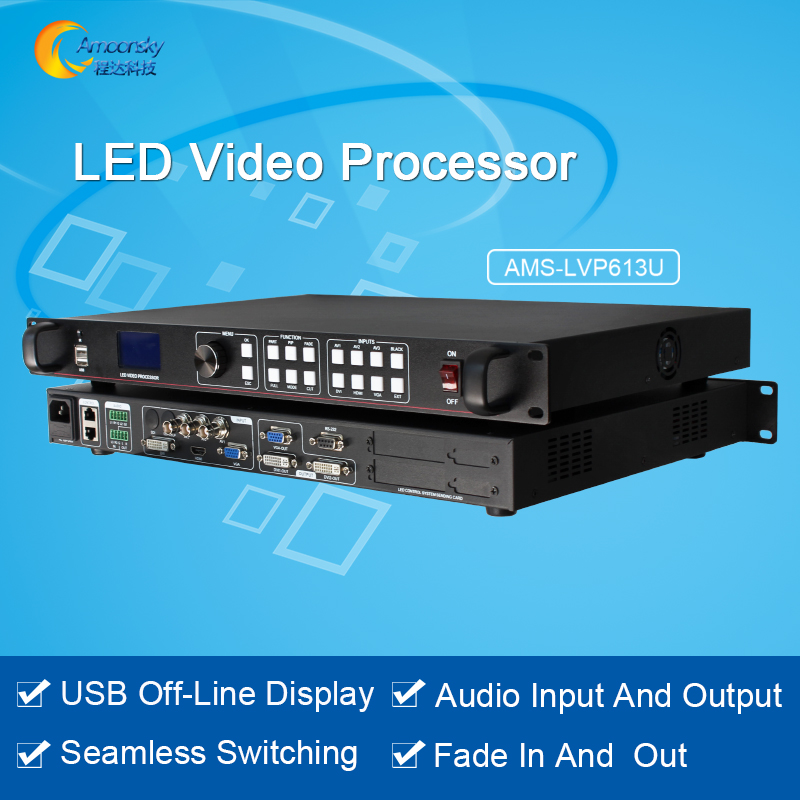 High feedback AMS-LVP613U led video switcher LED screen controller full color HD video processor with HDMI DVI VGA AV USB input lilliput tm 1018 o p 10 1 led ips full hd hdmi field touch screen camera monitor with hdmi input