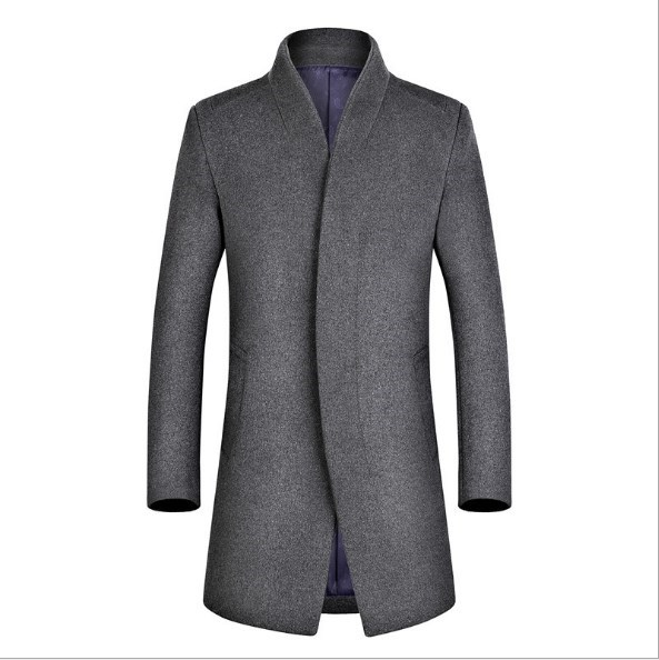 Winter Autumn Woolen   Trench   Coat for Men Business Casual Cashmere Coat Mens Long Wool Overcoat Black Blue Red Grey Outerwear 4XL