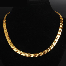 Pure Titanium Mens Necklace Golden Occidental Hydraulic Simple Fashion Magnet Radiation Protection Health