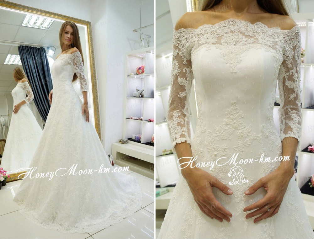 Free Shipping OEM Service Factory Made A-Line Sweep Train Off The Shoulder Wedding Dress With Three Quarter Sleeve MF396