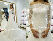 Free Shipping OEM Service Factory Made A Line Sweep Train Off The Shoulder Wedding Dress With