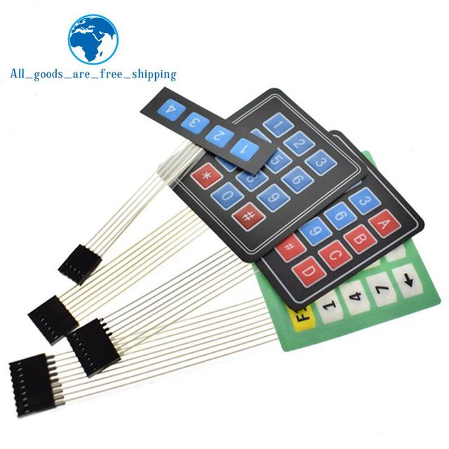 US $0 48 13% OFF| TZT New 4 12 16 20 Key 4*4 Membrane Switch Keypad 1x4 3x4  4x4 4*5 Matrix Array Matrix keyboard for arduino smart car-in Integrated