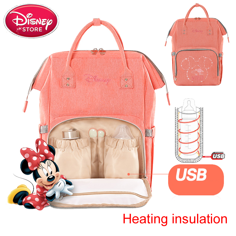Disney Diaper Bag USB Thermal Insulation Bag High-capacity Mummy Feeding Bottle Bags Backpack Baby Care Oxford Insulation BagsDisney Diaper Bag USB Thermal Insulation Bag High-capacity Mummy Feeding Bottle Bags Backpack Baby Care Oxford Insulation Bags