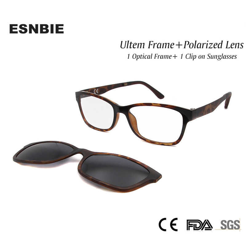 b3bbf605cd ESNBIE New Nerd Glasses Frame Women Men with Clip On Sunglasses Polarized  Sun Glasses Lens Driving