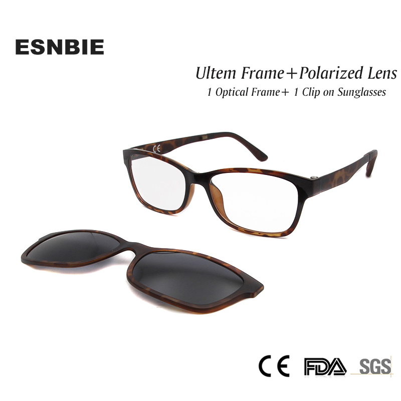 Esnbie New Nerd Glasses Frame Women Men With Clip On Sunglasses