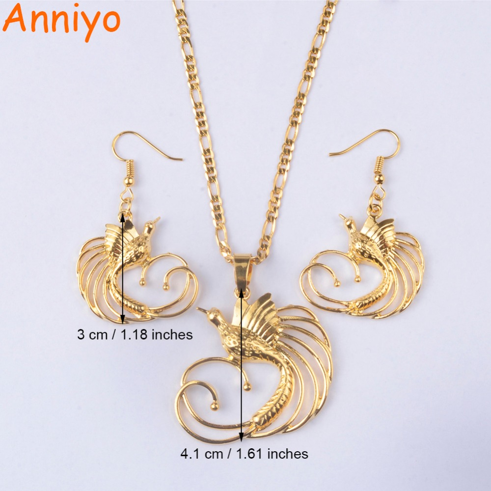 Anniyo gold color bird of paradise pendant necklaces and earrings anniyo gold color bird of paradise pendant necklaces and earrings for womenpapua new guinea jewelry png national style 085406 in jewelry sets from jewelry aloadofball Images