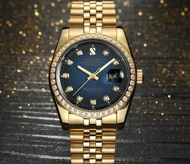 37 мм SANGDO Самовзводные движение высокое качество роскошные мужские часы покрытие 18KY механические часы 328eee
