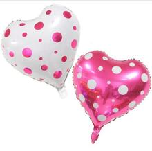 Good quality 10pc/lot Heart shape white Pink Polka Dot printed foil balloons Valentines day Love party birthday supplier