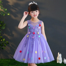 Girls flowers embroidered princess dress beautiful party sleeveless wedding performance costume 3-9years