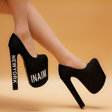 Single shoes fashion new arrival 18cm ultra high heels thick heel platform shallow mouth women's shoes round toe fashion sexy