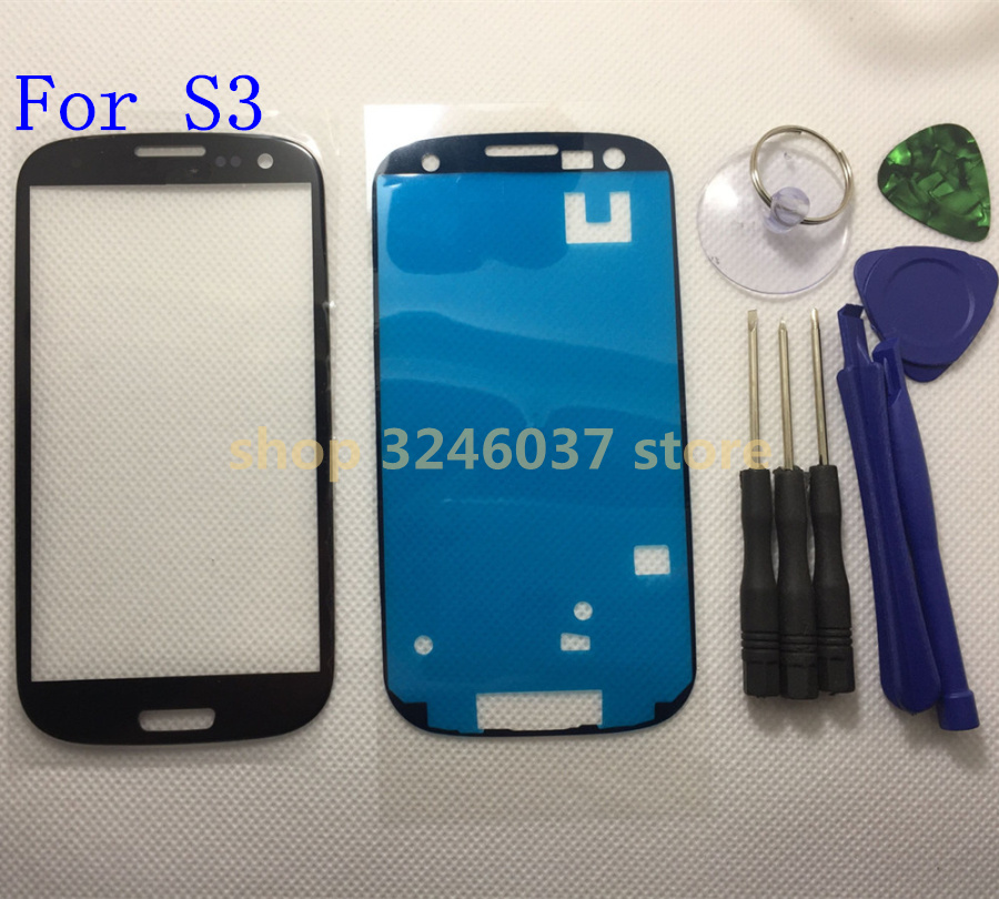 Black/white/blue/red i9300 Front Outer Glass Lens replacement for Samsung Galaxy S3 GT-I9300 LCD touch screen+ Adhesive +Tools