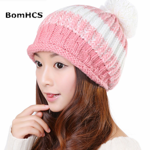 747a1d72978 BomHCS Sweet Autumn Winter Women Wool Handmade Knit Hat Lady Elastic  Fashion Simple Ear Muff Knitted