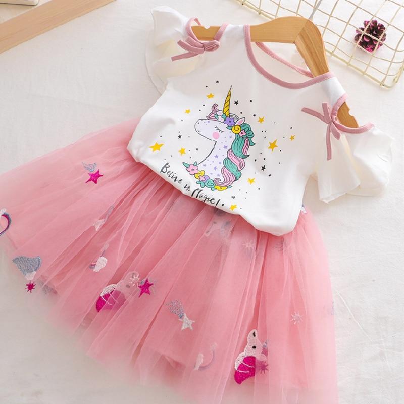 HTB1 yuNRIfpK1RjSZFOq6y6nFXaw Girls Clothing Sets 2019 Summer Princess Girl Bling Star Flamingo Top + Bling Star Dress 2pcs Set Children Clothing Dresses