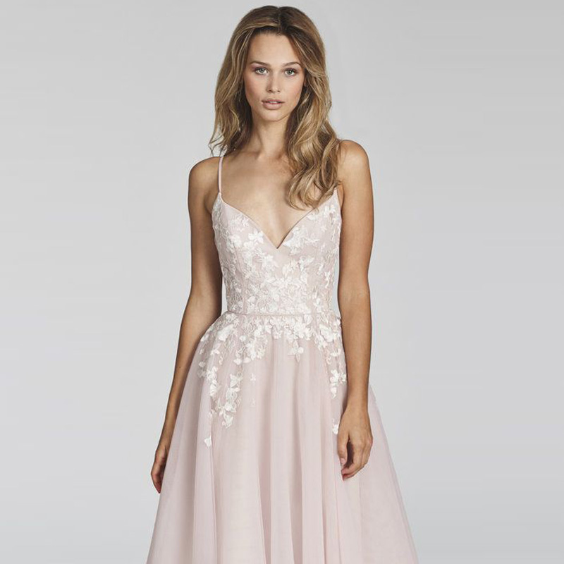 Dusty Pink A Line Lace Backless Puffy Tulle Beach Wedding Dress