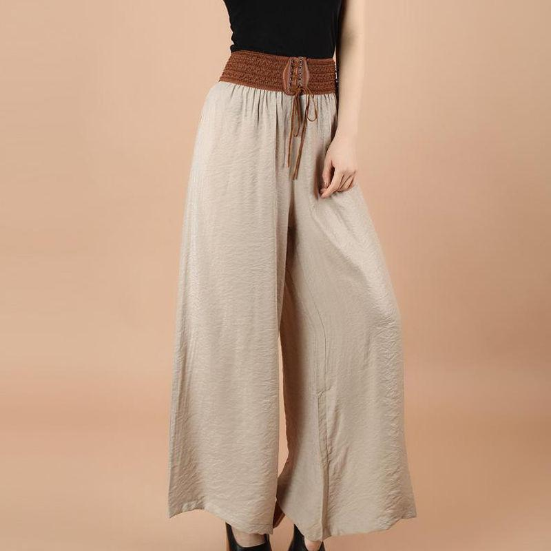 Summer New Harajuku Large Size Women   Pants   Elastic Waist Straps Bow Trousers High Waist   Wide     Leg     pants   Dance Trousers Elegant
